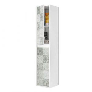 ARKITMOBEL 305074BO - Mueble Lavabo con Estampado de baldosas, Columna de baño Colgante 2 Puertas Acabado en Color Blanco Brillo y Arlo (Mosaico hidráulico), Medidas: 30 x 140 x 25,5 cm de Fondo 10