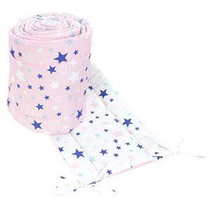TupTam Protector Acolchado para Cama de Bebé Largo, Estrellas Rosa/Azul Oscuro, 360x30 cm (Cuna 120x60 cm) 3
