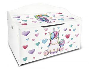 Leomark Caja de Madera Banco Blanco XL con Almacenamiento para Juguetes, Accesorios Baúl de Juguetes Tema: Unicornio 9