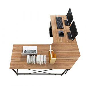 sogesfurniture Escritorio de Computadora en Forma de L, 150cm + 150cm Mesa de Ordenador Mesa de Estudio Estación de Trabajo, Mesa Esquinera para Casa, Oficina, Roble LD-Z01OK-BH 10
