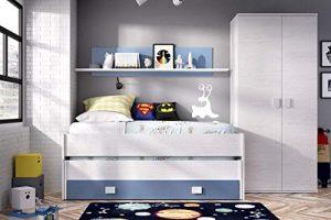 HABITMOBEL Pack Dormitorio Juvenil, Cama Nido 2 cajones + Armario de 2 Puertas 90 cm,COLCHONES Y SOMIER INCLUIDOS 6