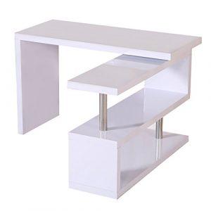 Mesa de Escritorio con Estantería para Oficina - Color Blanco - MDF y Acero Inoxidable - 187,5x50x76,1cm 6