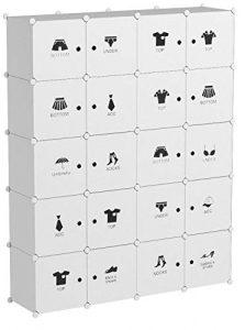 LANGRIA Armario Modular Organizador Convertible de 20 Cubos con Puertas, 1 Barra para Colgar Ropa, Pegatinas Adhesivas Decorativas, Mueble Organizador Ropa, Zapatos, Accesorios, Juguetes (Blanco) 8