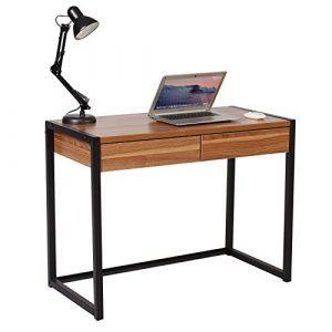 Woltu Escritorio de Ordenador Mesa de Oficina Mesa de Trabajo PC Mesa de Ordenador portátil, con 2 cajones, de Madera y Acero, 100x50x76cm Haya Oscura TSG27dc 8