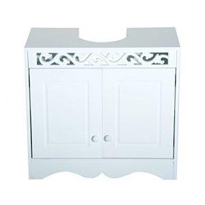 HomCom Armario de Baño Bajo para Lavabo con 2 Puertas y Estantes - Blanco - 60x30x56cm 6