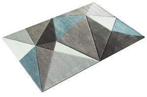 Paco Home Alfombra Efecto 3D Triángulos Turquesa Gris Pastel, tamaño:160x230 cm 1