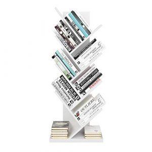 Homfa Estantería para Libros Librería de Árbol Estantería de Pared con 8 Estantes Estantería Almacenaje Libros (Blanco) 2