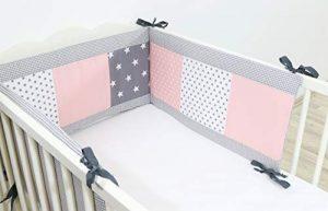 Protector de cuna de ULLENBOOM ® con rosa gris (protector de cuna de 180x30 cm; chichonera para cunas de 120x60 cm; zona de la cabeza) 10
