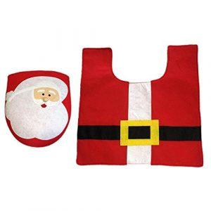 Juego de 2 piezas de inodoro de Papá Noel y alfombras - Asiento de inodoro con pies rojo decoración de Navidad accesorios de baño 6