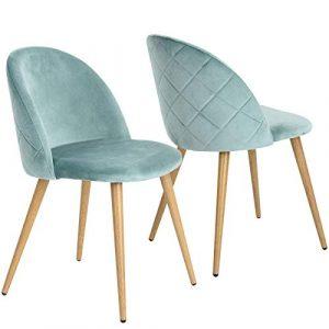 Conjunto de 2 sillas de Comedor con Patas de Tela de Terciopelo en Terciopelo con Patas en Estilo de Madera (Azul) 2
