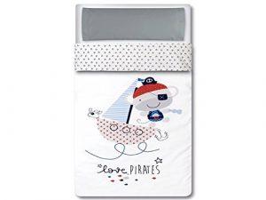 Pirulos 33013320 - Saco nórdico, diseño pirate, algodón, 62 x 125 cm, color blanco y gris 7