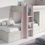 Miroytengo Cama litera Infantil Dormitorio diseño Original Forma Tren Color Rosa y Blanco con cajones y Armario 151x273x117 cm 90x190 cm 16
