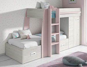 Miroytengo Cama litera Infantil Dormitorio diseño Original Forma Tren Color Rosa y Blanco con cajones y Armario 151x273x117 cm 90x190 cm 10