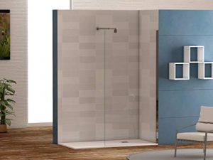 Mampara de ducha frontal panel fijo con cristal transparente templado de seguridad de 6mm modelo Bricodomo Cadiz ANCHO 120 (Adaptable de 118 a 120cm) 9