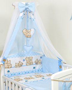 Pro Cosmo 10 Piezas Juego de Ropa de Cama para Cuna bebé/Edredón, Dosel, Protector (120x60cm, Azul de Peluche) 8