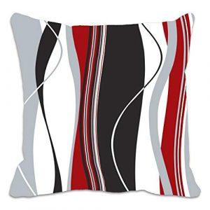 Funda de cojín con estampado de rayas onduladas rojas, negras, blancas y grises; ideal para el salón, el sofá, etc. 7