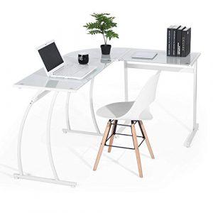 Escritorio en L Mesa de Ordenador Esquinero para Despacho Habitación Juvenil o Estudio para Hogar u Oficina Esquinero, Cristal Blanco 6
