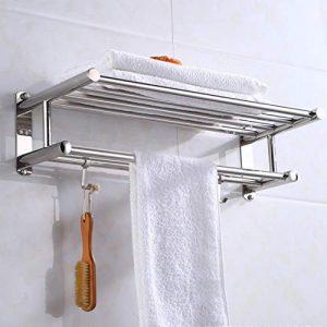 fghdfdhfdgjhh Soporte para Toallas de baño Organizador de baño Estante de Toalla montado en la Pared de Acero Inoxidable Estante de la Pared del Hotel casero Accesorio de Hardware 8