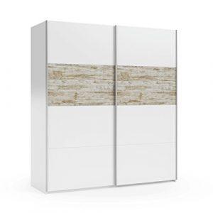 Mobelcenter - Armario puertas correderas vintage - Color Blanco y Vintage - Armario Dormitorio Matrimonio - Ancho: 180 cm. x Alto: 200 cm. x Fondo: 61 cm. - 0905 9