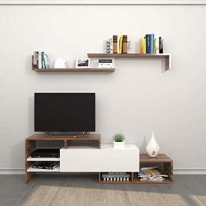 Theta Design by Homemania - Mueble Fenice para TV, Color Blanco y Ciruela 10