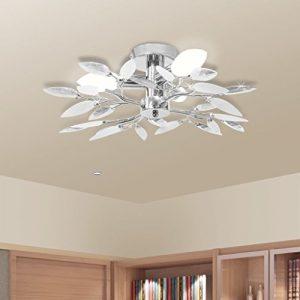 Lámpara Colgante para Comedor Salón Lámpara de Techo Moderna con Forma de Hojas Cristal Acrílico Blanco 10
