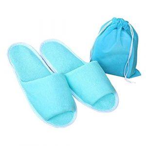 VIMOER Zapatillas de Tela de Toalla Plegables con Bolsa de Almacenamiento, Zapatillas de Invitados para el hogar Unisex SPA Hotel Abiertas, Azul, for Women 2