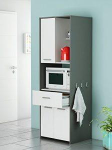 Armario Alto Auxiliar o buffe para Cocina en Color Blanco y Gris Grafito con Cajon 180x60x50 cm 1