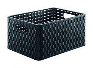 Rotho Country - Caja de almacenaje con efecto de mimbre, Negro, A4 7