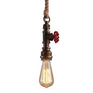 Lámpara Vintage Colgante,Modeen E27 100 cm Ajustable Lámpara de Techo de Cáñamo Rústico Retro Industriales Hierro Metal Tubería de hierro Edison restaurante Salón de Decoración Lámpara de techo 6