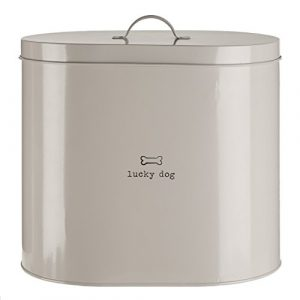 Premier Housewares 12 Litre Adore Pets 12 Litro Bote para conservar Alimentos con Cuchara-Lucky Dog, Afortunado Perro, Acero Inoxidable, Natural, 20x30x29 cm 2