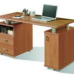 Abitti Mesa de Escritorio para despacho u Oficina en Color Cerezo con Dos cajones y Compartimento con Puerta 137x75x65 cm 13