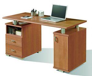 Abitti Mesa de Escritorio para despacho u Oficina en Color Cerezo con Dos cajones y Compartimento con Puerta 137x75x65 cm 9