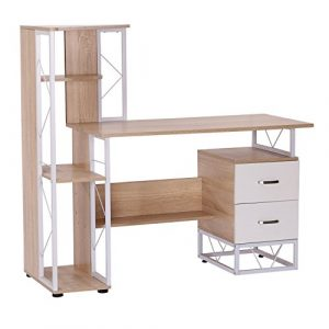 Mesa de Ordenador PC Oficina Despacho Escritorio Estante 133x55x123CM Natural 2