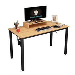 sogesfurniture Mesa de Juegos para computadora, 120x60 cm Escritorio para computadora Mesa de PC Mesa de Estudio Estación de Trabajo con Amplia Superficie de Juego, Teca & Negro BHEU-AC14BB 8