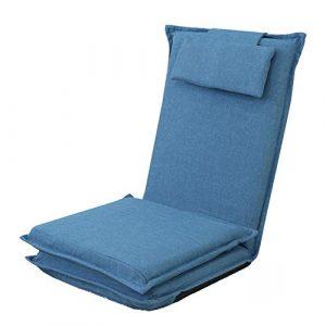Puffs pera Lazy Floor Lounger Sofa Chair Solo Plegable Recliner Bed Respaldo Chair Balcony Leisure Tumbona, Dormitorio Single Living Room (Color : Azul Oscuro) 9