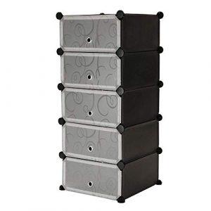 PrimeMatik - Armario Organizador Modular Estanterías de 5 Cubos de 17x35cm plástico Negro con Puertas y Dibujado 8