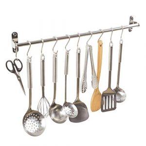 Alicemall Colgador de Toallas Multifuncional Bastidores Colgantes para Accesorios de Cocina y Baño Acero Inoxidable de 40 cm con 10 Ganchos 1