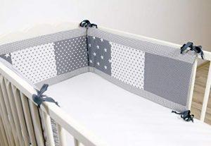 Protector de cuna de ULLENBOOM ® con estrellas grises (protector de cuna de 210x30 cm; chichonera para cunas de 140x70 cm; zona de la cabeza) 4