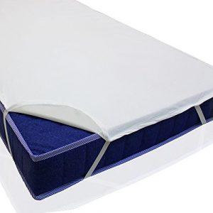 sinnlein Protector de colchón impermeable, en 11 medidas, hecho de 100% algodón, con goma elástica en todo el perímetro parecido a una sábana bajera, absorbente por el tejido de rizo, lavable hasta 95°C (70x140 cm) 3