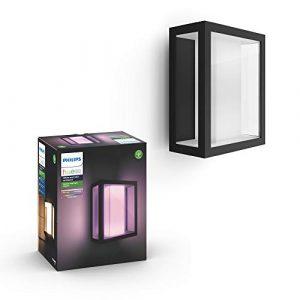 Philips Hue Impress Aplique exterior alargado negro LED inteligente, luz blanca y de colores, compatible con Amazon Alexa, Apple HomeKit y Google Assistant 9