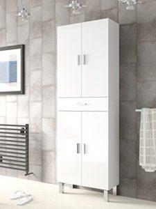 Mueble de baño o aseo con dos puertas superiores e inferiores separadas por un cajón color blanco brillo182x60x29cm 6