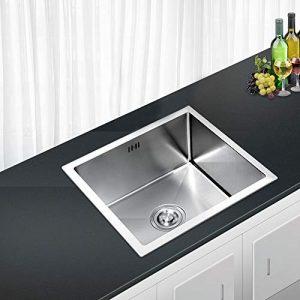 AuraLum Fregadero Cocina un Seno 50x40x22cm Bajo/Sobre Encimera, Cuadrado Fregadero de Cocina con Desagüe y Sifón, Acero Inoxidable Cepillado 2