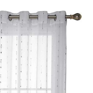 Deconovo Visillos para Ventanas Efecto Lino Cortina Traslúcida Voile para Dormitorio Salón Balcón 2 Piezas 140 x 138 cm Blanco Diseño Flecha 6