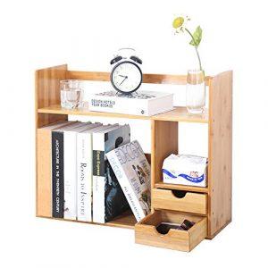 SogesHome Librería con 2 cajones Estante de Almacenamiento de Escritorio de bambú de 48 x 19.5 x 46 cm para estantería de Escritorio para el hogar y la Oficina, KS-HSJ-03-SH 4