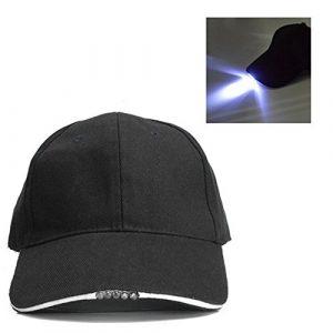 UxradG Gorra de béisbol de 5 Paneles, Gorra de algodón Ajustable con 5 Luces LED para Viajes al Aire Libre, Pesca, para Hombres y Mujeres, 1 6