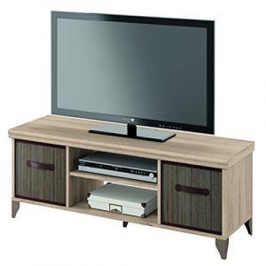 Mueble de televisión 120x40 de melamina y cestos de bambu, modulo bajo tv 1