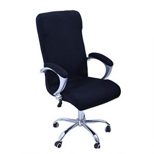 WINOMO Cubiertas de la silla de la computadora de oficina Sillón giratorio Tapa deslizable Extraíble Estiramiento Funda de la silla de escritorio Protector Tamaño L (Negro) 6