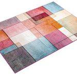 T&T Design Alfombra De Cuadros Multicolor De Pelo Corto Modelo De Diseño Al Mejor Precio, Größe:160x220 cm 11