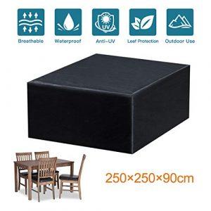 Fayttoli Funda para Muebles de Jardín Impermeable Oxford Muebles de Jardin Cubierta, Tamaño 250 x 250 x 90 cm 4