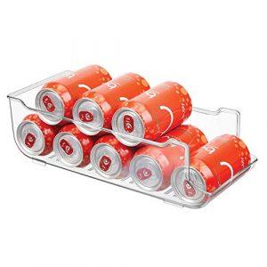 mDesign Caja de almacenaje para frigorífico y armarios de cocina - Contenedor de plástico ideal para alimentos, con capacidad para 9 latas - Práctico organizador de nevera - transparente 4